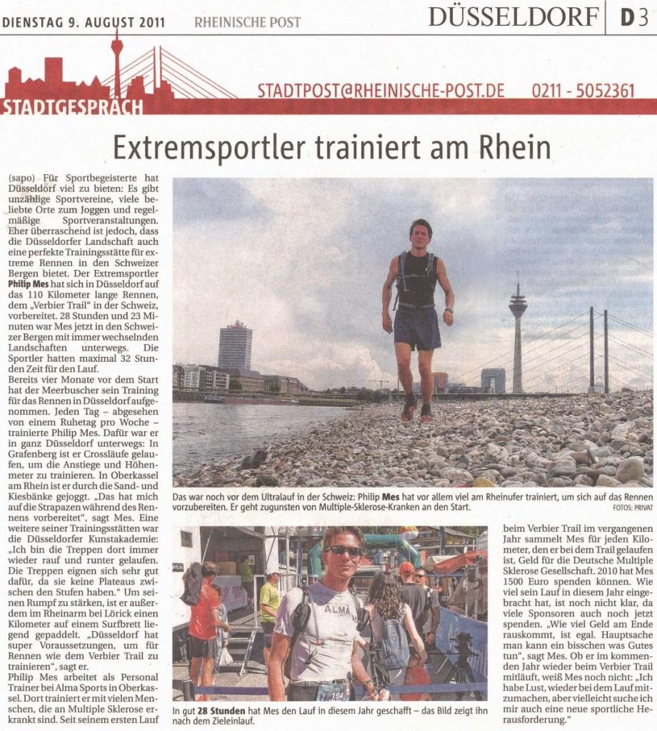 Extremsportler trainiert am Rhein