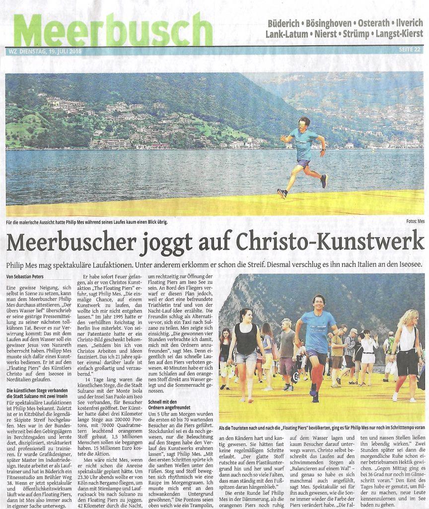 Meerbuscher joggt auf Christo Kunstwerk