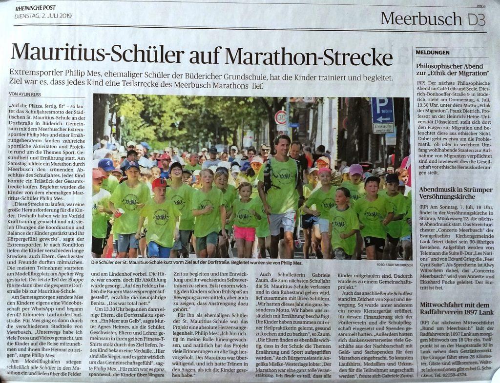 """1,2,3, fit – Schulprojekt """"Marathon um Meerbusch"""""""