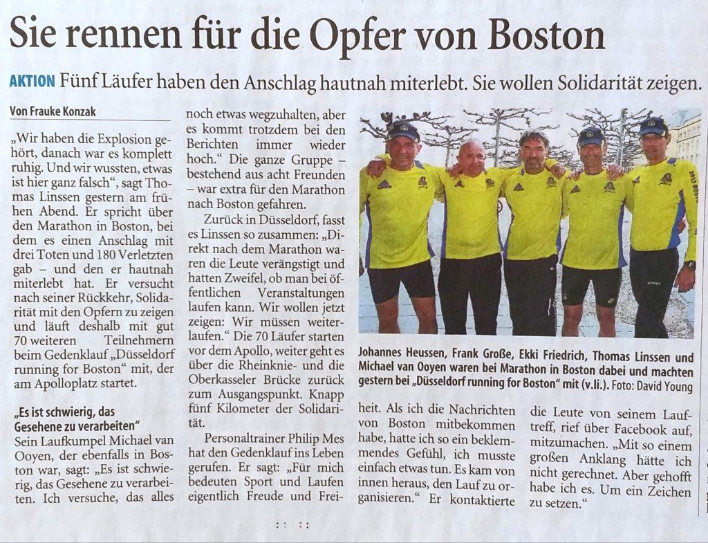 Boston Marathon – Philip Mes veranstaltet Gedenklauf in Düsseldorf